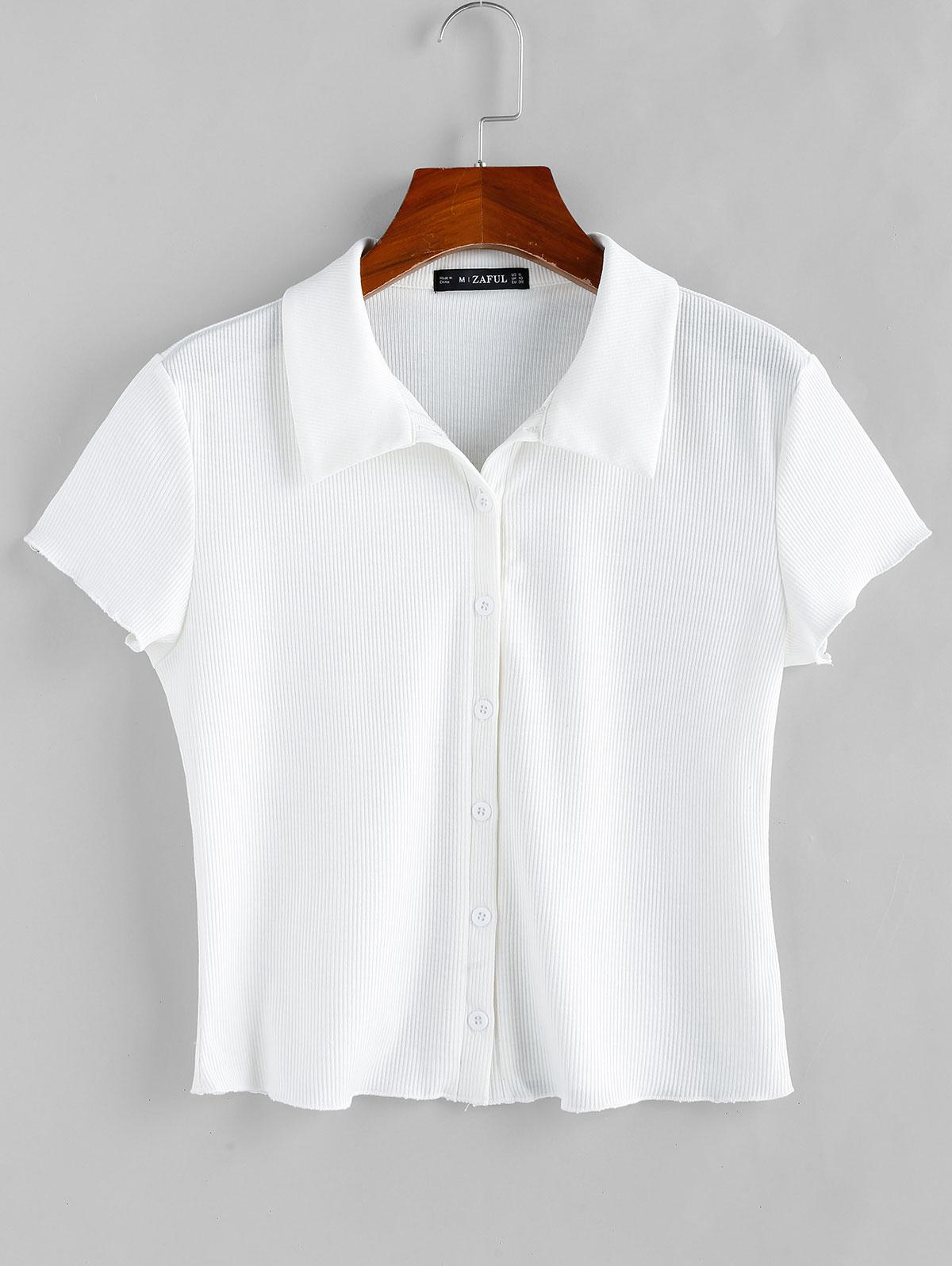 ZAFUL Basic Ribbed Shirt фото
