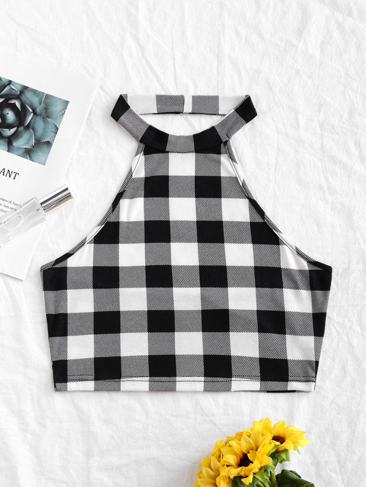 Checked Backless Crop Tank Top фото