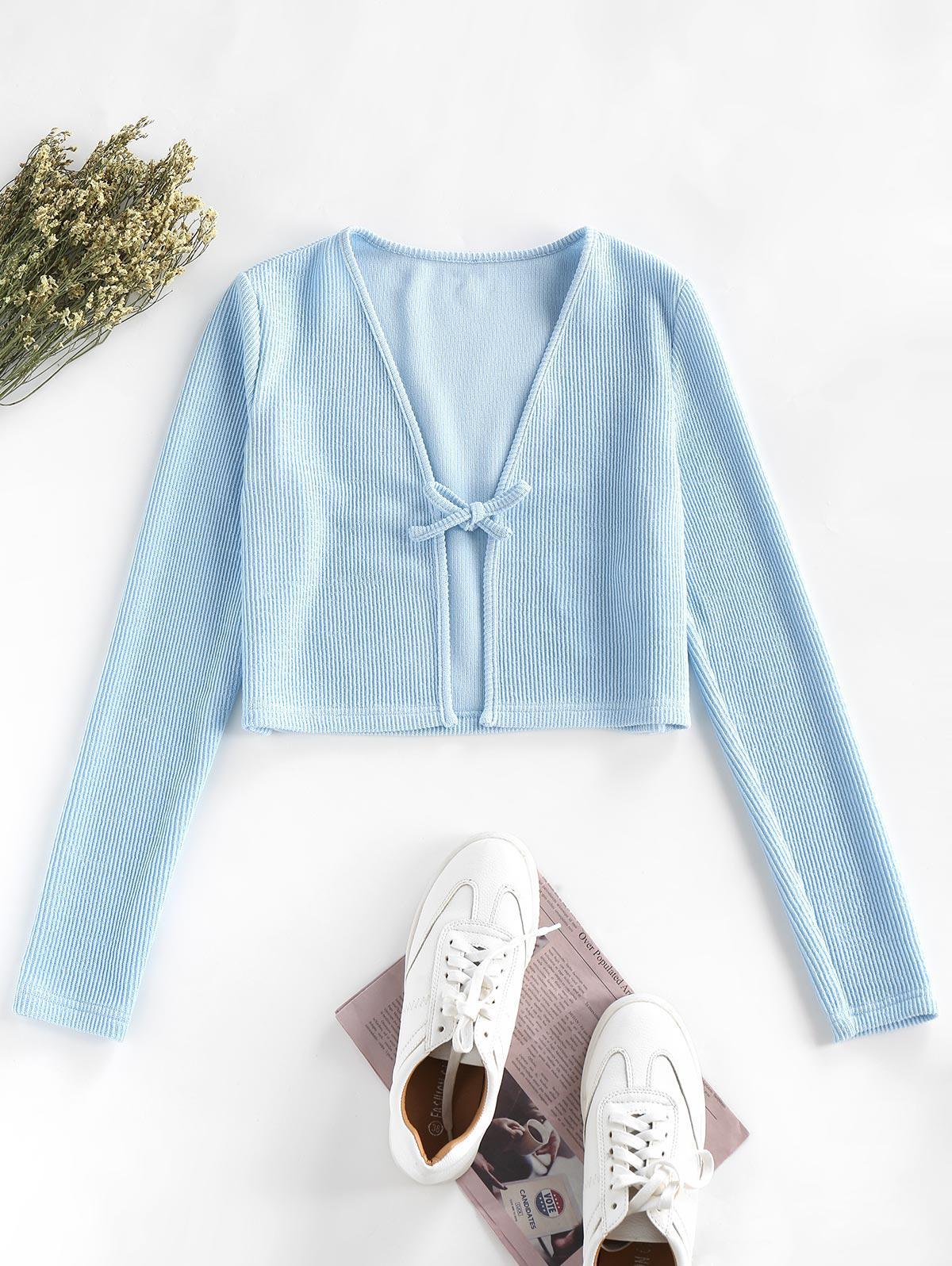 ZAFUL Ribbed Tie Open Crop Knit Cardigan