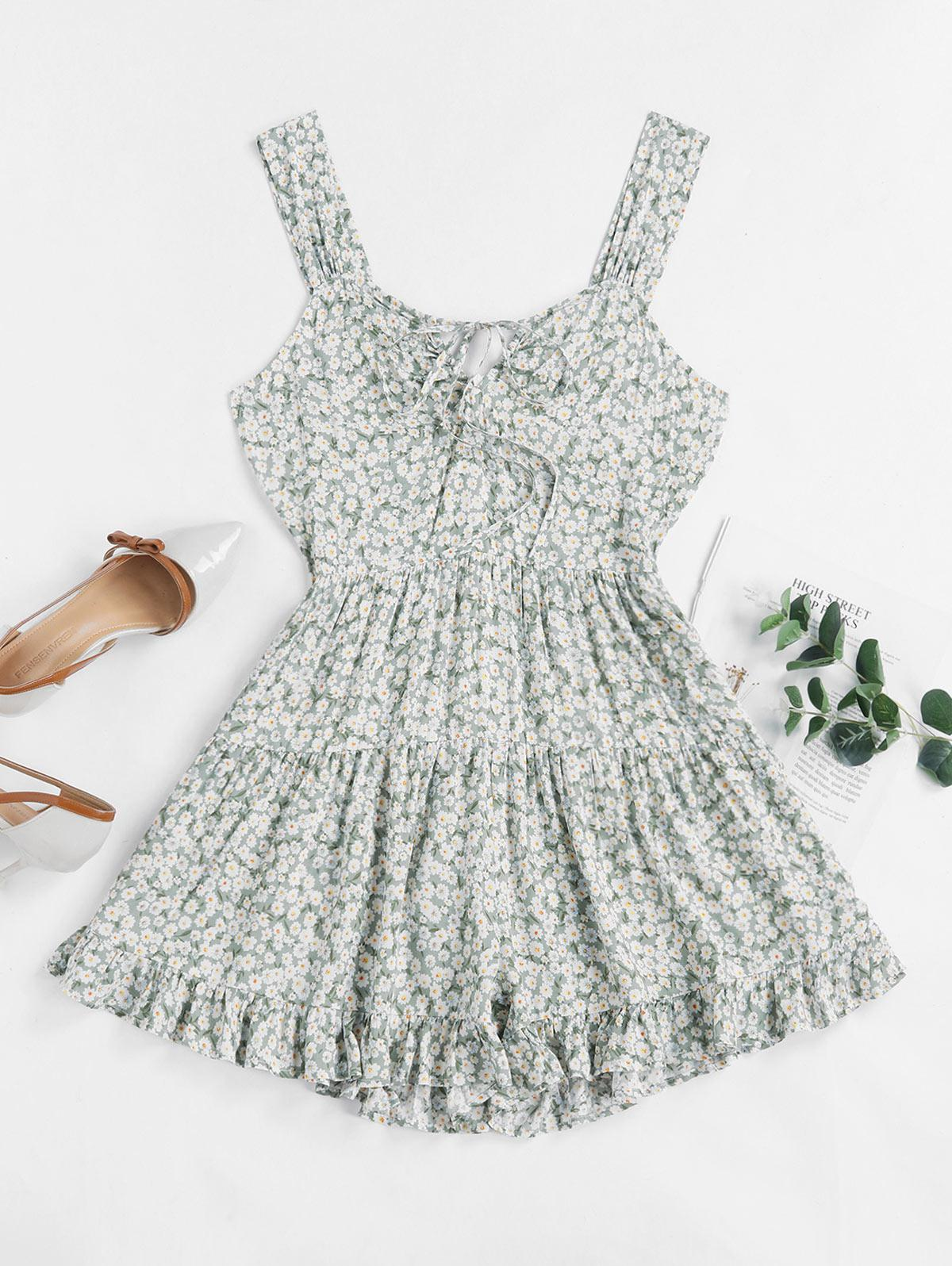 ZAFUL Tiny Floral Knotted Wide Leg Romper