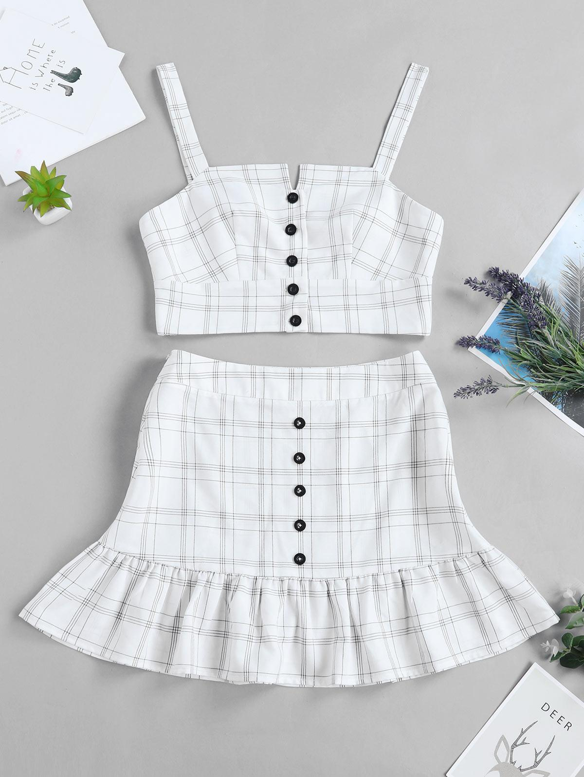 ZAFUL Checked Buttoned Top and Ruffles Skirt Set