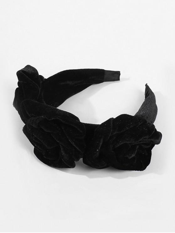 大花發帶 - 黑色