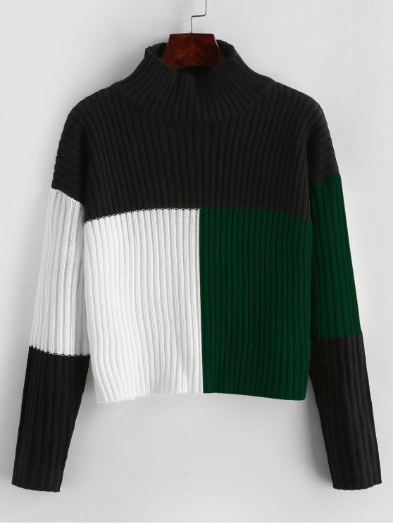 women Colorblock Mock Neck Crop Sweater - MULTI-B XL
