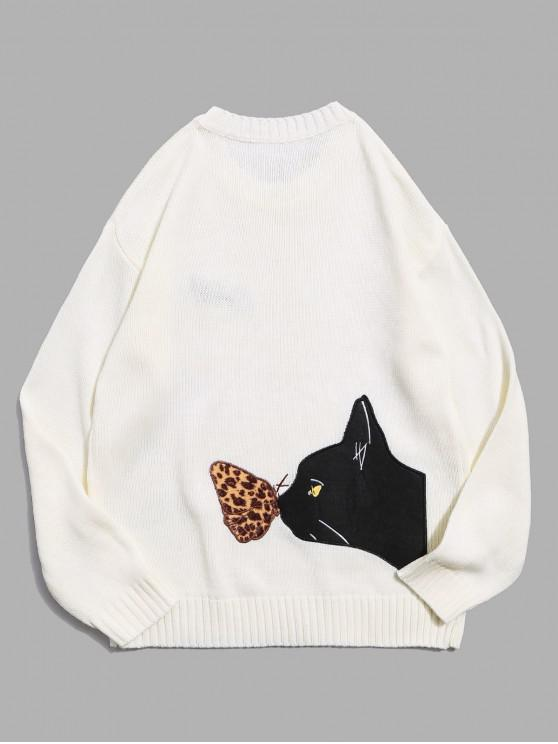 shops Cat Graphic Crew Neck Casual Sweater - WHITE M