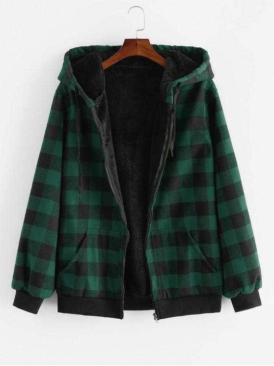 trendy ZAFUL Hood Fluffy Plush Plaid Jacket - DARK FOREST GREEN 2XL