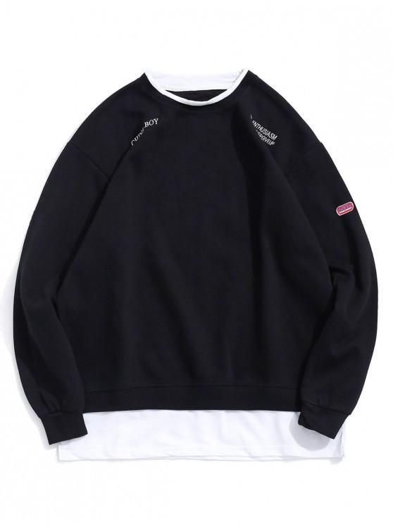 best Letter Embroidery Graphic Colorblock Faux Twinset Sweatshirt - BLACK M