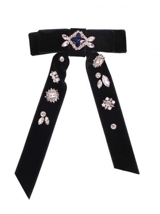 水鑽點綴蝴蝶結絲絨領帶 - 黑色