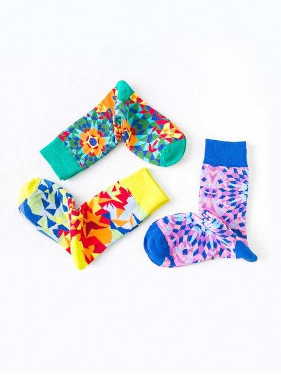 hot Geometric Graffiti Printed Socks Set - MULTI-A