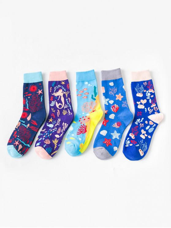 outfit 5 Pairs Sea Creatures Jacquard Socks Set - MULTI-A
