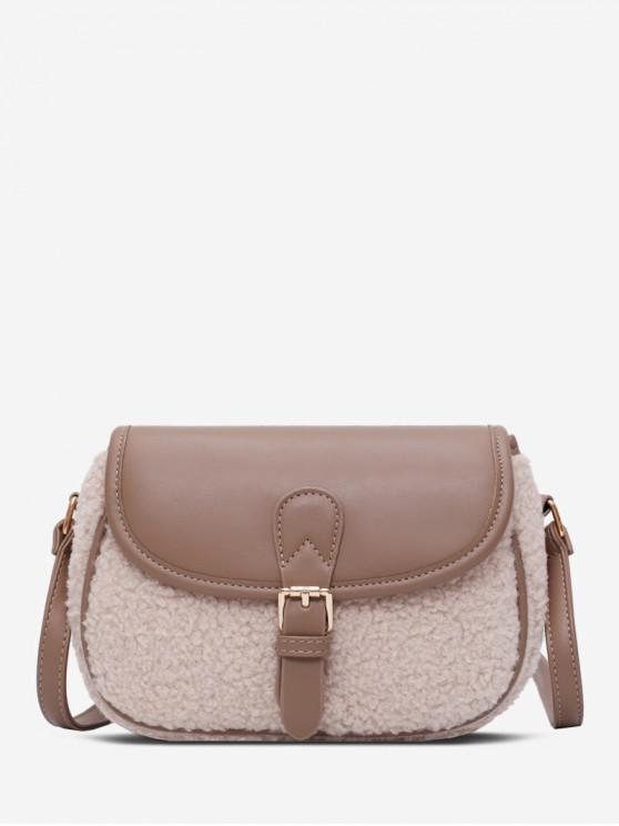 shop Fuzzy Panel Flap PU Leather Crossbody Bag - BEIGE