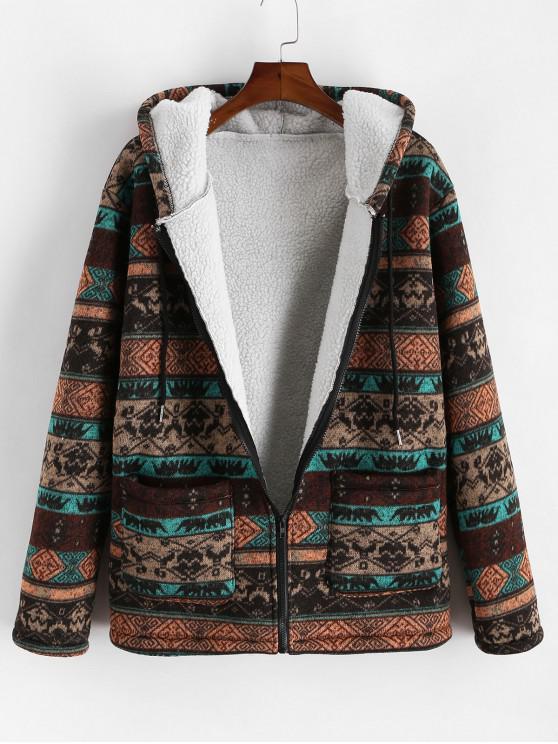 chic Tribal Printed Zipper Fluffy Jacket - COFFEE 2XL
