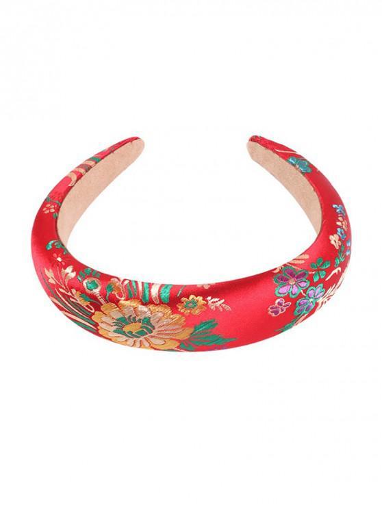 刺繡葉紋發帶 - 紅