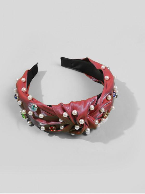 人造珍珠點綴髮夾 - 紅