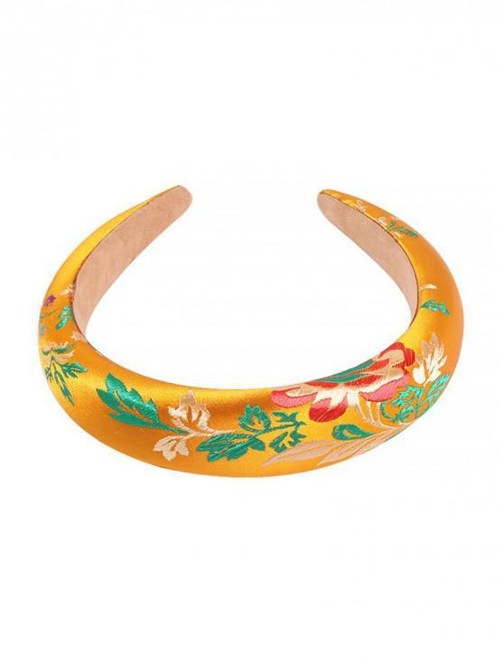 刺繡葉紋發帶 - 黃色
