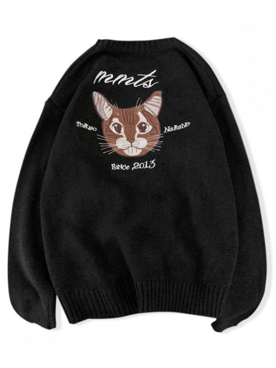 buy Crew Neck Cat Embroidery Lounge Sweater - BLACK 2XL