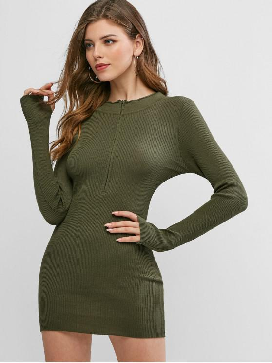 trendy Zip Front Bodycon Thumbhole Knit Dress - ARMY GREEN ONE SIZE