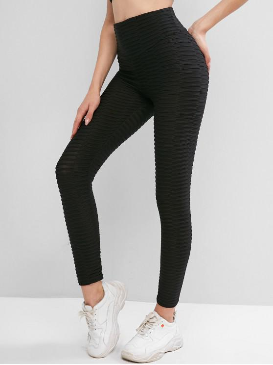 affordable Textured Scrunch Butt High Waisted Leggings - BLACK L