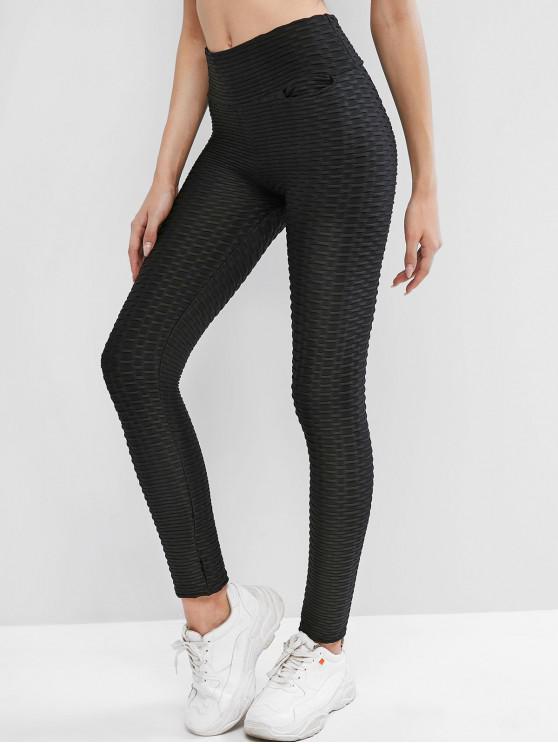 buy Textured Scrunch Butt Pocket Leggings - BLACK M