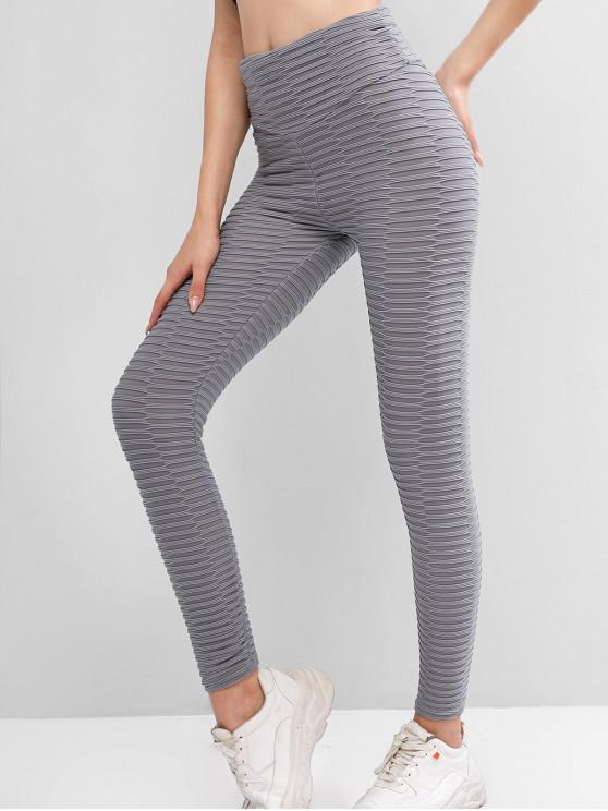 womens Textured Scrunch Butt High Waisted Leggings - GRAY M
