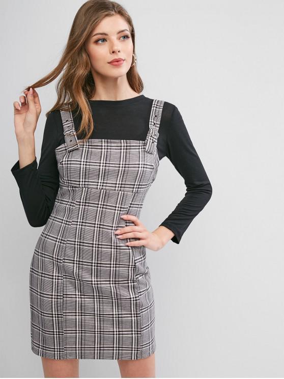 lady ZAFUL Buckle Straps Plaid Mini Pinafore Dress - MULTI L