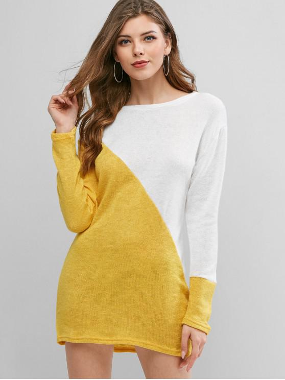 outfit Long Sleeve Two Tone Casual Mini Dress - WHITE S