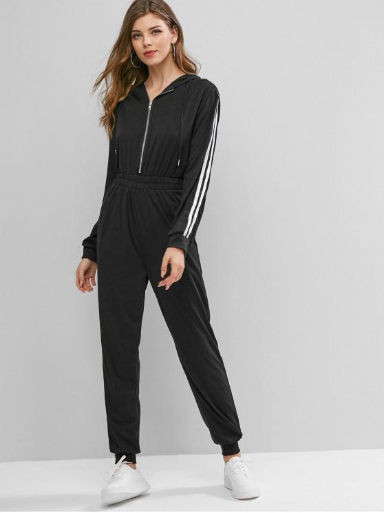 shops Half Zip Racing Stripes Track Jogger Jumpsuit - BLACK M