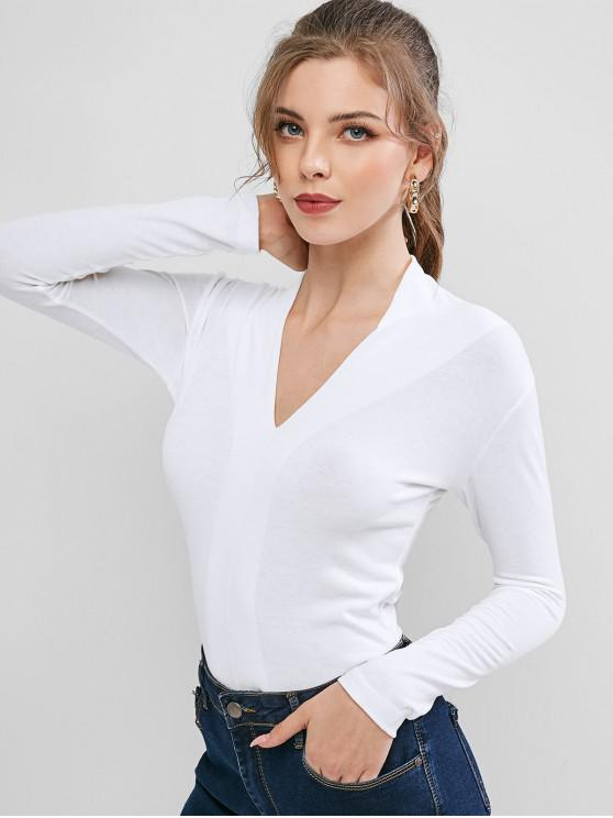 trendy Solid V Neck Slim Top - WHITE ONE SIZE