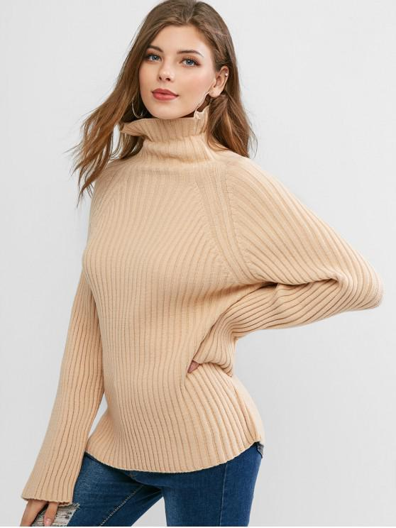 womens Turtleneck Raglan Sleeve Ribbed Knit Sweater - LIGHT KHAKI ONE SIZE