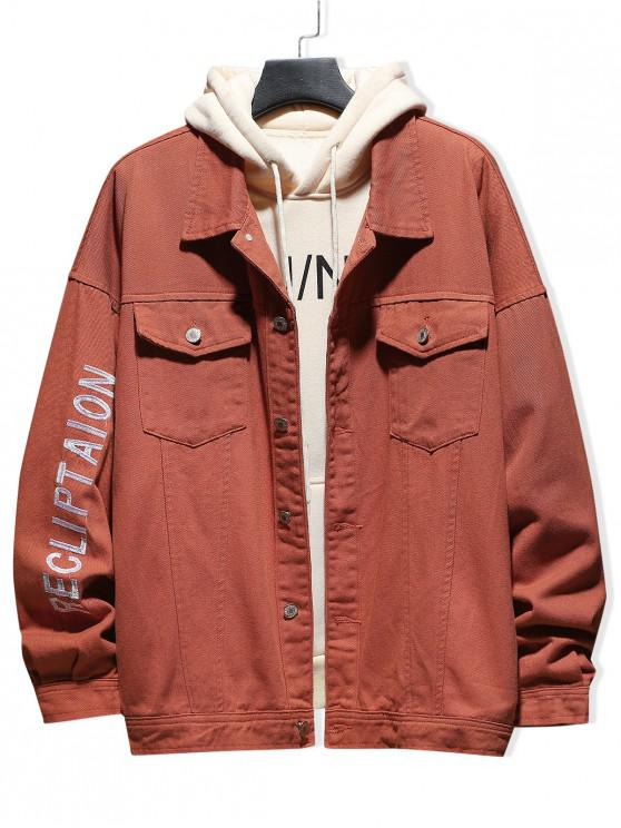 women's Letter Embroidered Button Up Casual Jacket - SUNRISE ORANGE 2XL