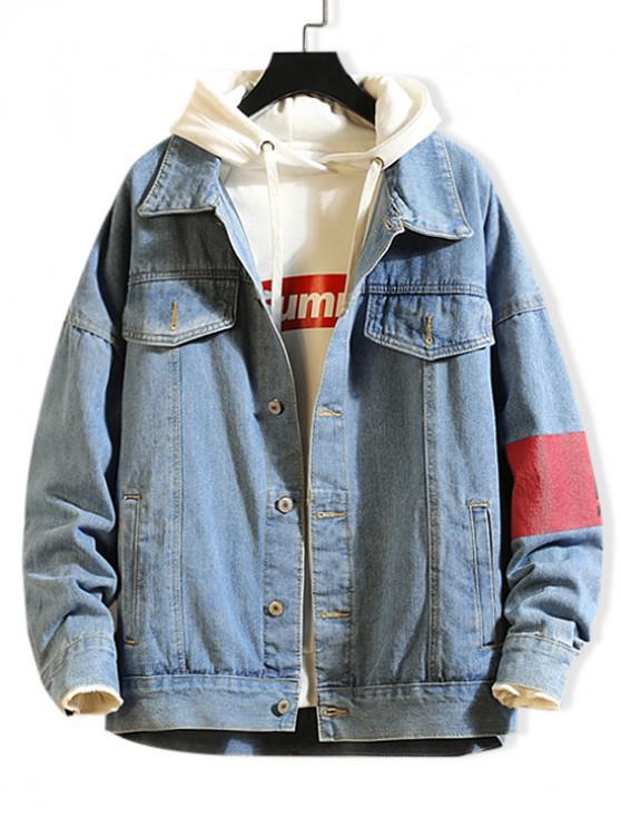 ladies Graphic Pattern Button Up Denim Jacket - JEANS BLUE S