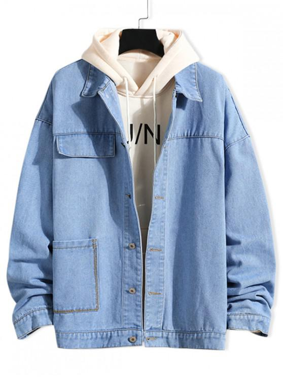 shops Casual Solid Color Pocket Denim Jacket - JEANS BLUE 2XL