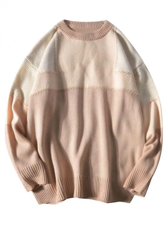 hot Colorblock Patchwork Crew Neck Knitted Sweater - APRICOT L