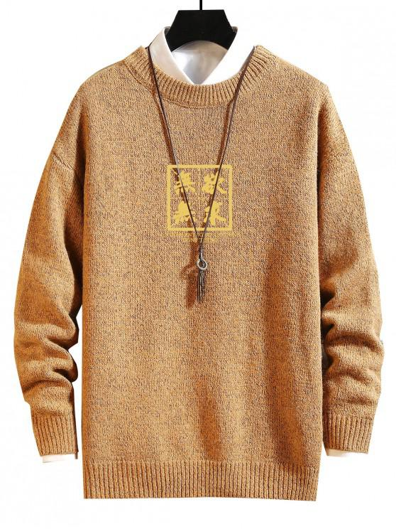 hot Chinese Letter Graphic Crew Neck Sweater - GINGER BROWN XL