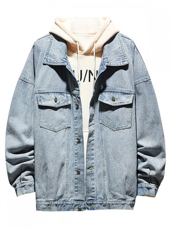 womens Double Pocket Decoration Button Denim Jacket - JEANS BLUE 2XL
