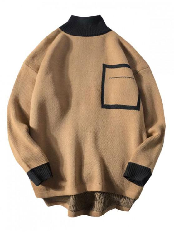 hot Geometric Graphic Colorblock Panel High Low Sweater - KHAKI 2XL