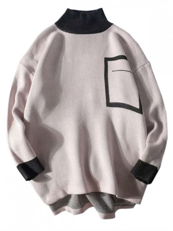 shops Geometric Graphic Colorblock Panel High Low Sweater - PINK 2XL