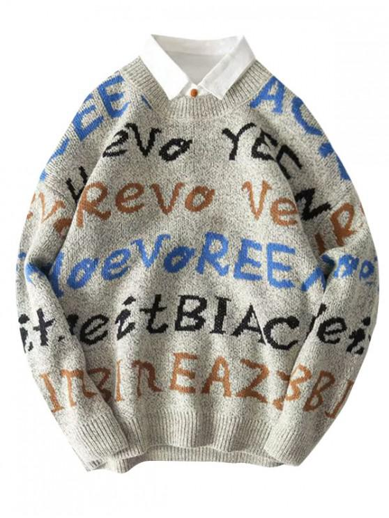 affordable Letter Graphic Allover Drop Shoulder Sweater - GRAY 2XL