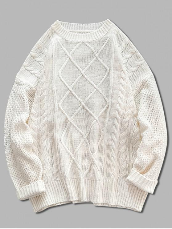 trendy Solid Cable Knit Drop Shoulder Pullover Sweater - BLANCHED ALMOND 2XL