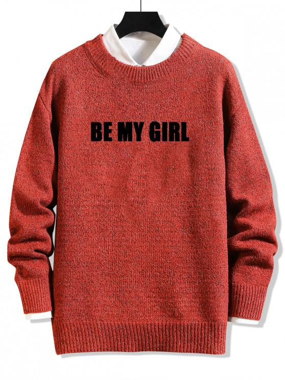 online Be My Girl Letter Graphic Sweater - LAVA RED XS
