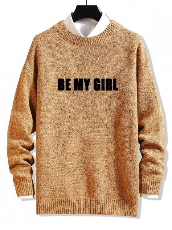 affordable Be My Girl Letter Graphic Sweater - GINGER BROWN XL