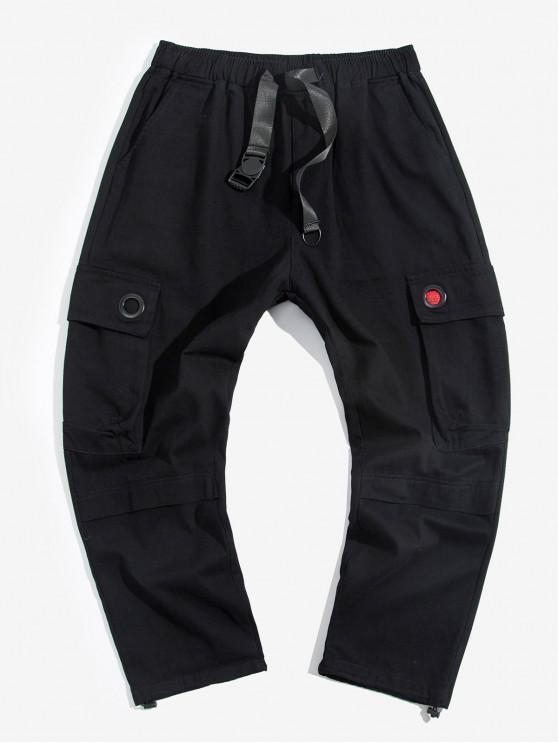 buy Solid Multi-pocket Strap Casual Cargo Pants - BLACK L