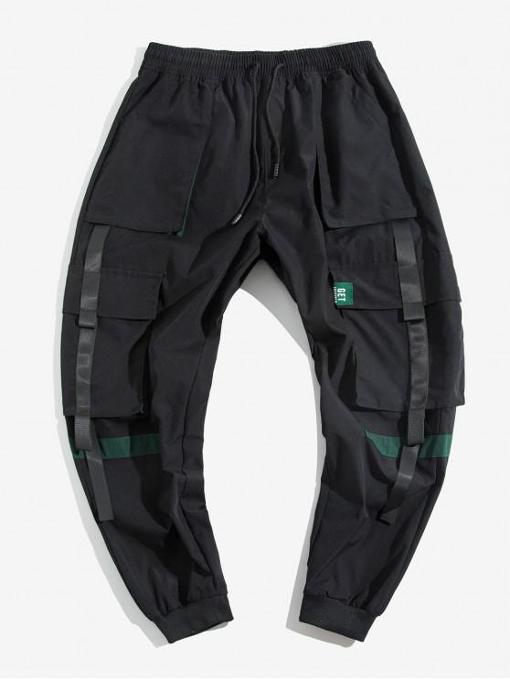 lady Colorblock Spliced Multi-Pocket Cargo Jogger Pants - BLACK XL