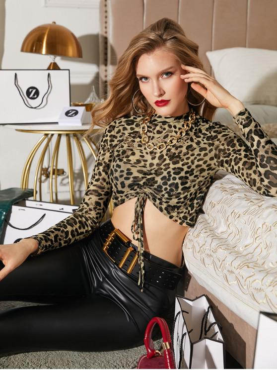 outfit ZAFUL Cinched Leopard Print Cropped Tee - DARK GOLDENROD L
