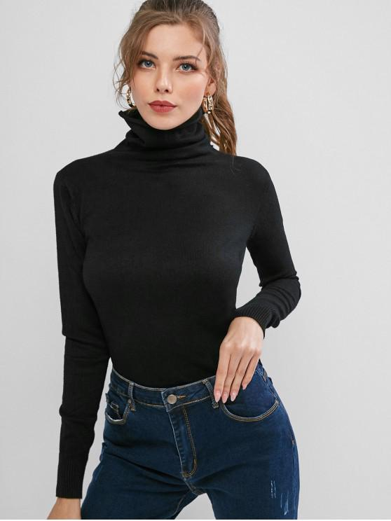 fashion High Neck Ribbed Hem Plain Pullover Knitwear - BLACK S