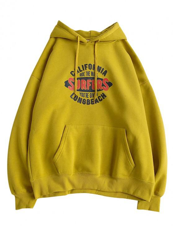 outfits Surfers Letter Graphic Print Drop Shoulder Fleece Hoodie - YELLOW S