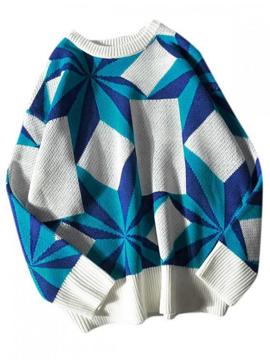 fashion Contrast Geometric Graphic Drop Shoulder Sweater - BLUE 2XL