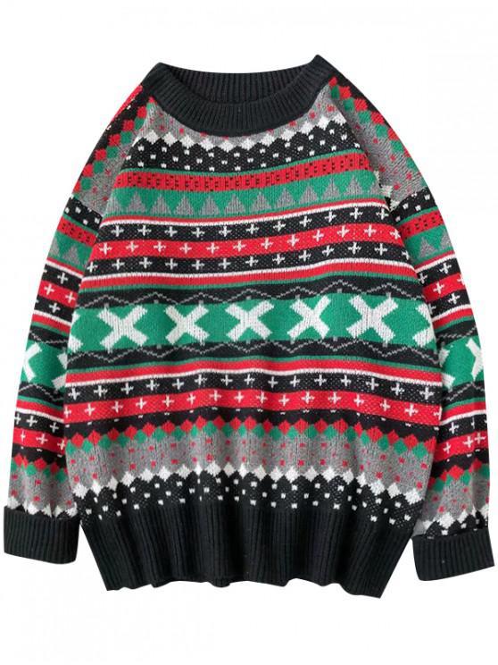 ladies Geometric Cross Graphic Casual Christmas Sweater - BLACK L