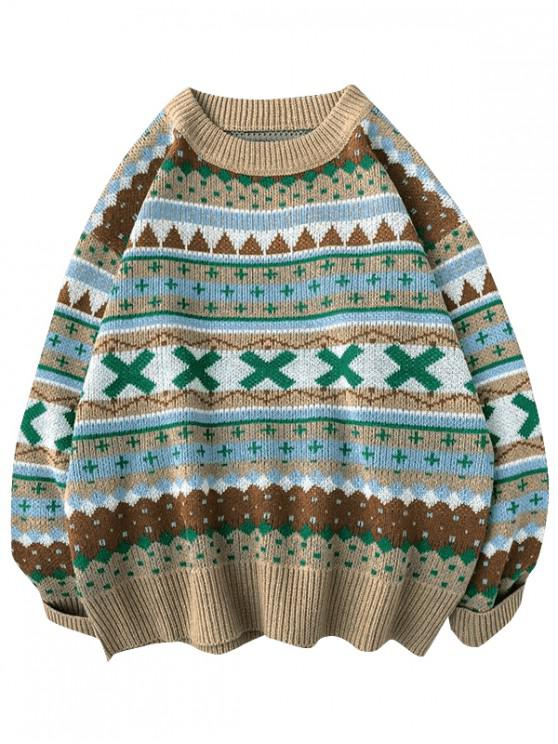 new Geometric Cross Graphic Casual Christmas Sweater - KHAKI L