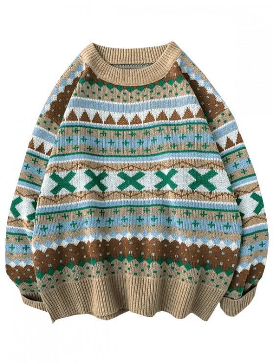 hot Geometric Cross Graphic Casual Christmas Sweater - KHAKI XL