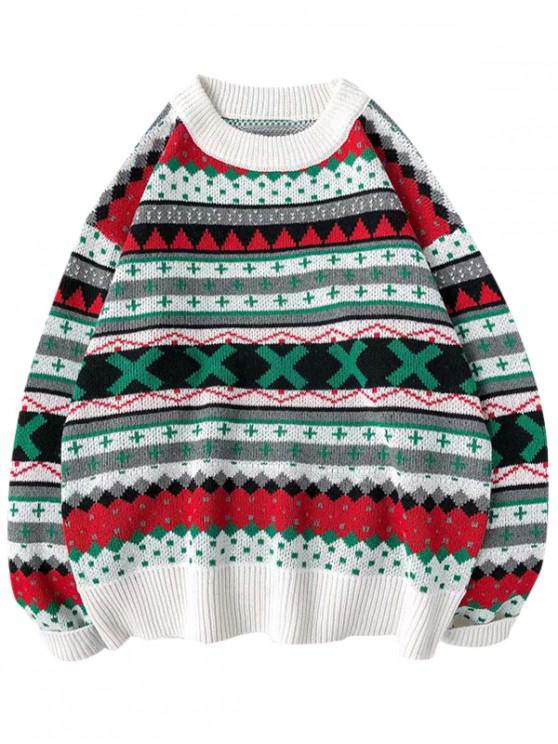 latest Geometric Cross Graphic Casual Christmas Sweater - WHITE 2XL